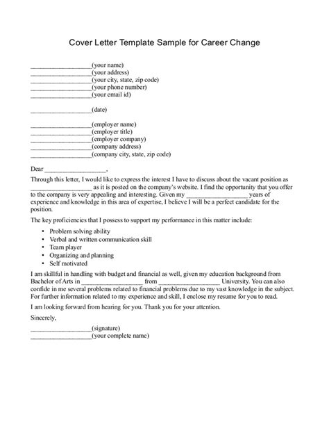 cover letter career change persuasive career change cover letter template sle