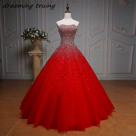 sparkly beaded sequined ball gowns red quinceanera dresses