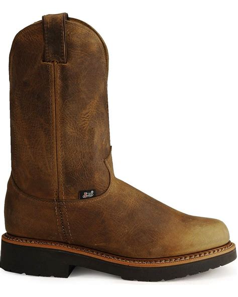 justin pull on work boots jow s justin j max pull on western work boot soft toe