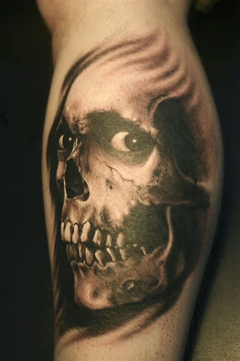 ithaca tattoo black and grey portrait skull by eddie molina the