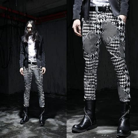 men s punk rock black white pattern gothic goth emo korea men s needle fit skinny pants gangnam style punk