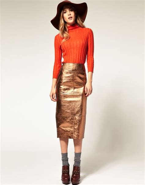 asos collection asos pencil skirt in metallic leather in