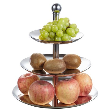 modern fruit holder visol 10 5 in x 10 5 in x 13 in 3 tiers stainless steel cupcake and fruit stand 2pk vac329