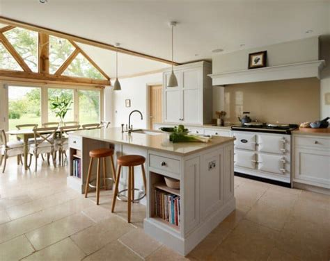 neat ergonomic kitchen islands designs featuring open shelving