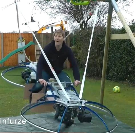 wife swinging for first time watch man fly world s first homemade hoverbike after