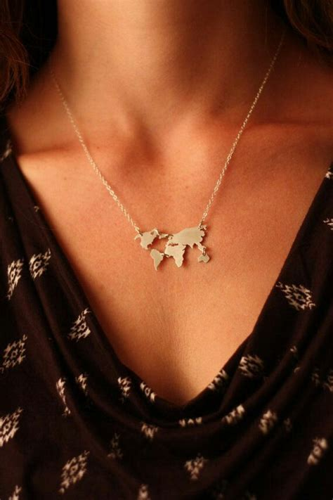 World Map Statement Necklace new design choker necklace alloy world map composition
