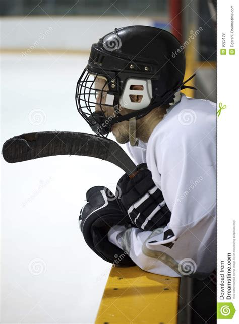 hockey bench hockey player on bench royalty free stock photos image 9025138