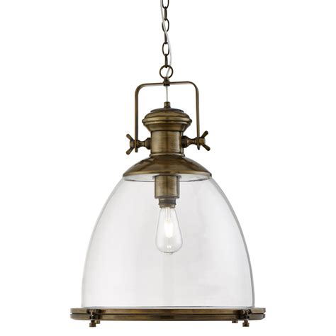 6659 Clover Top industrial antique brass pendant light with clear glass