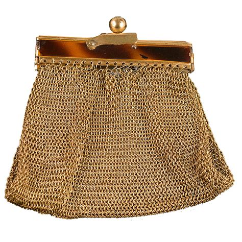 small petite gold mesh antique coin purse from