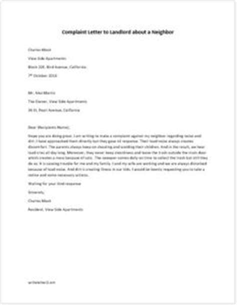 Complaint Letter To Your Landlord Complaint Letter To Landlord About A Writeletter2