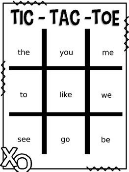 tic tac toe template word editable sight word tic tac toe by designs tpt