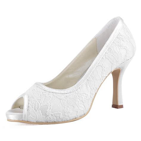 Heels Ip 11 014 ip ivory black peep toe cone heel lace platform wedding bridal s evening shoes us4 11