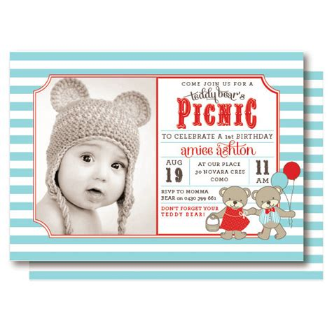 teddy picnic invitation template teddy picnic photo invitations