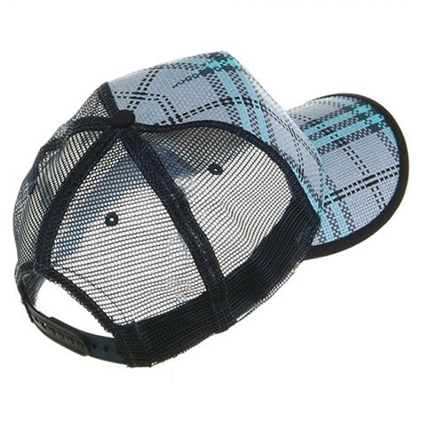 Plaid Straw Trucker Caps Blue by Cap Blue Plaid Straw Trucker Cap E4hats