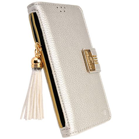 Baby Skin Iphone 6 6s Silver luxury silver pu leather flip wallet purse card