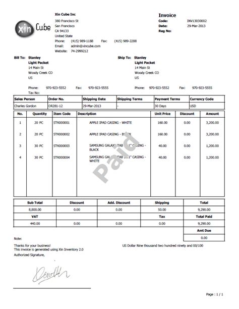 exles of invoice templates invoice template