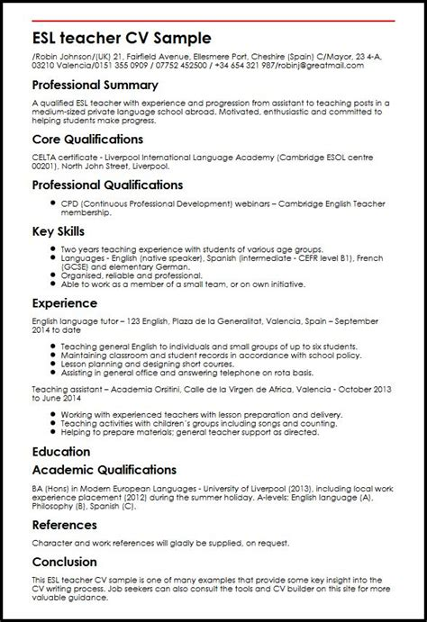 Esl Resume by Esl Cv Sle Myperfectcv