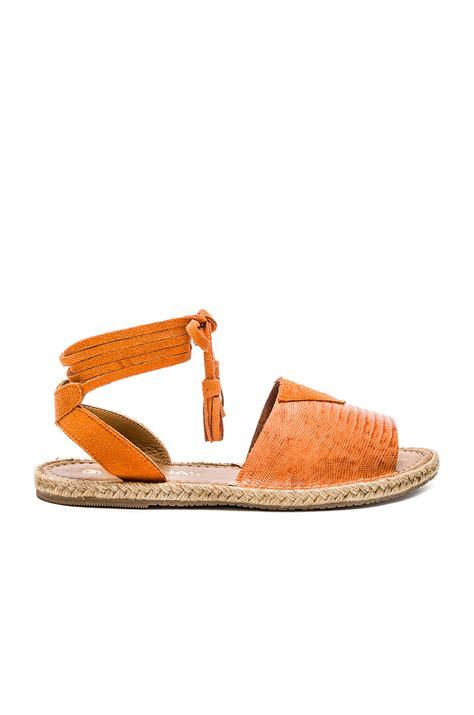grenada sandals kaanas grenada leather and canvas sandals in orange lyst