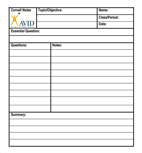 avid cornell notes template pdf invitation templates