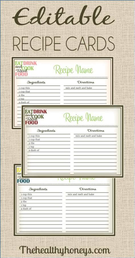 editable printable recipe cards free real food recipe cards diy editable the healthy honeys