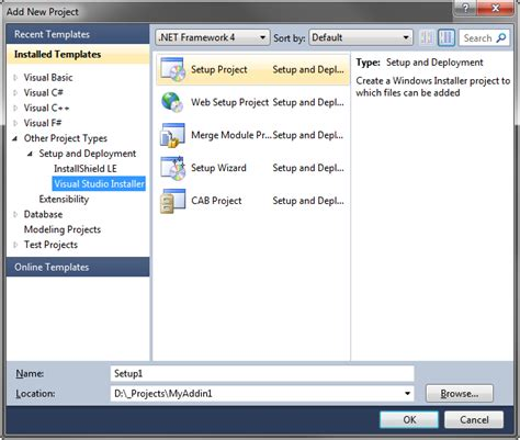 visual studio 2010 reset project settings create windows installer based setup project msi for