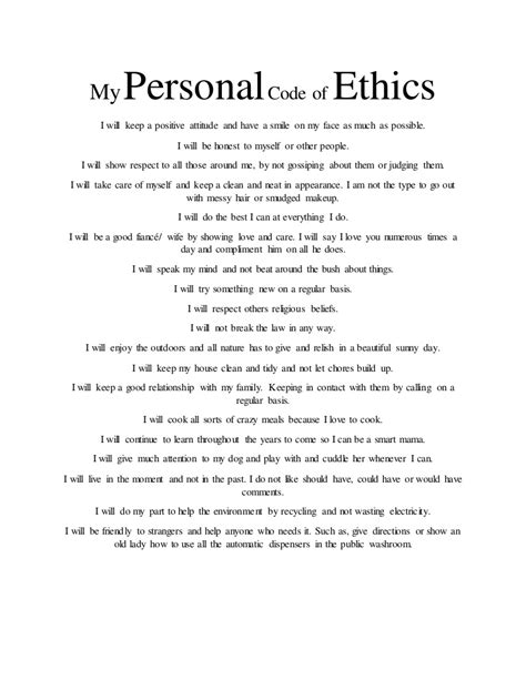 My Personal my personal code of ethics