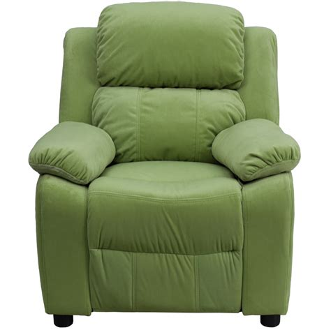 recliner with arm storage deluxe heavily padded contemporary avocado microfiber kids