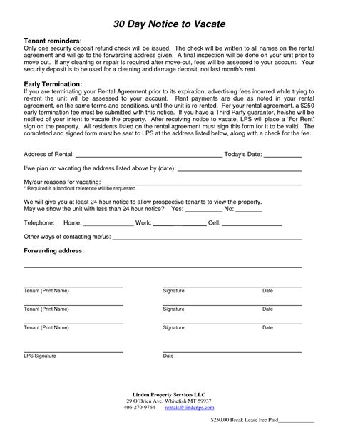 notice to move out template 30 day notice to move out template