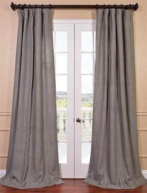Grigio Grey French Linen Curtain Contemporary Curtains