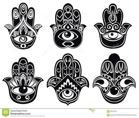 Set Fatima set of hamsa stock vector illustration of blessings