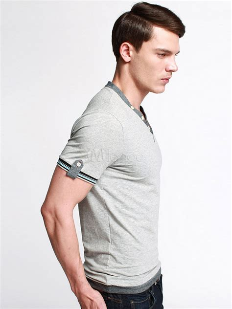 muland gray v neck t shirt and knee handsome gray v neck sleeves solid color cotton