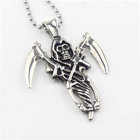sons of anarchy stainless steel grim reaper pendant with