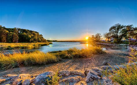 long island  york usa sunset river trees grass