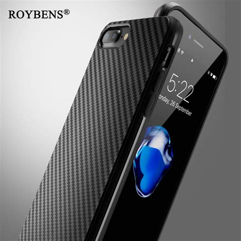 Iphone 6 6s Ory Soft Casing Cover Carbon 2 roybens vintage fashion black carbon fiber for iphone 6 6s 5s iphone 7 plus soft silicon