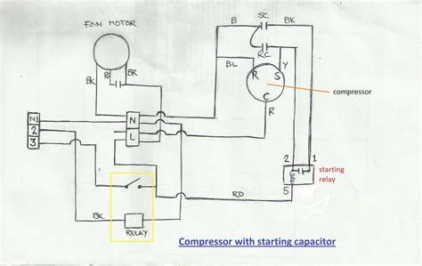 refrigerator start capacitor wiring diagram start