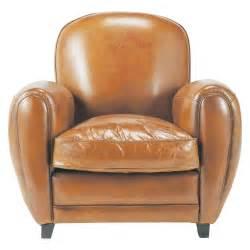 fauteuil club en cuir cognac oxford maisons du monde