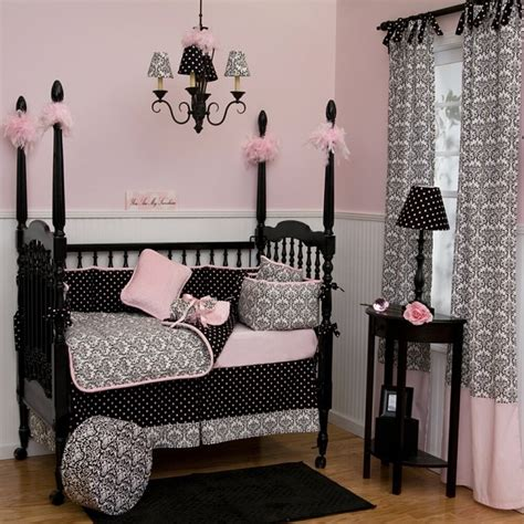 Pink Black And White Crib Bedding Black And White Damask Crib Bedding Traditional Atlanta By Carousel Designs