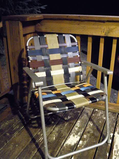 refurbish   folding lawn chair  seatbelt webbing