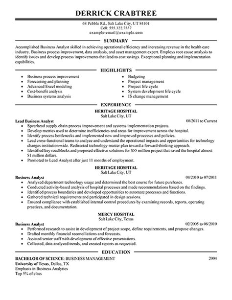business analyst resume example 530 x 710 sample cv buckey us
