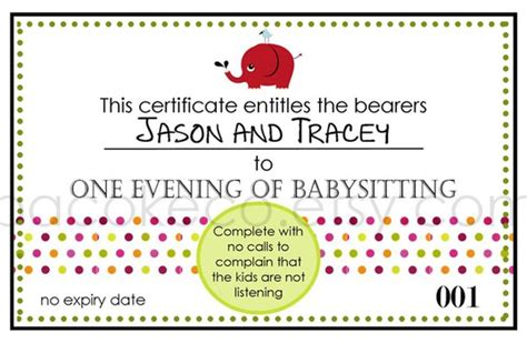 babysitting gift voucher template pin free babysitting coupon on