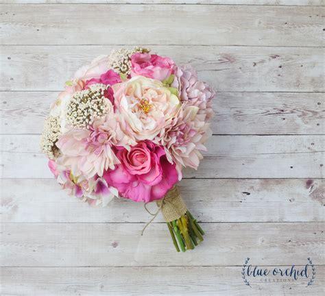 pink wedding bouquet silk bouquet peony bouquet shabby
