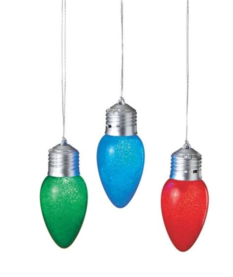 lighted bulb christmas ornaments set of 3