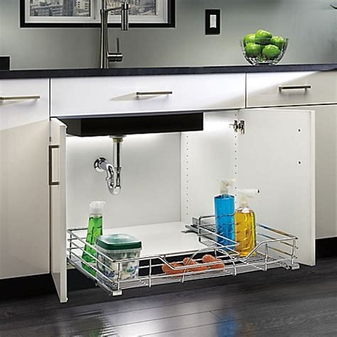 under kitchen sink storage rev a shelf under sink organizer bed bath beyond
