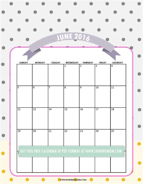 printable calendar 2016 pretty pretty printable calendars for june