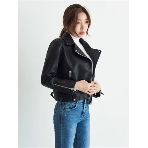 70568 Blouse Korea Import 1 black leather rider jacket autumn classic korean fashion from sinsang market b2b marketplace