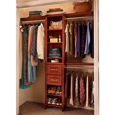 bedroom closets bedroom closet organizer with impressions 16 in dark cherry narrow closet kit durable laminate
