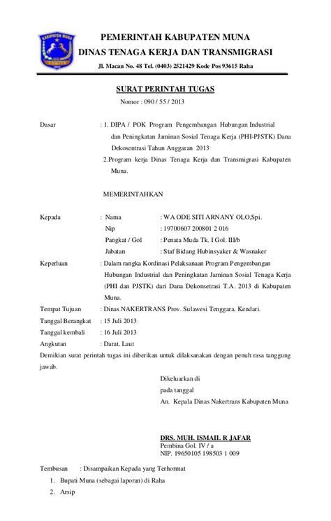 Surat Perintah Tugas by Surat Tugas Dinas Tenaga Kerja Dan Transmigrasi Kabupaten Muna