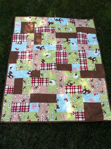 Farm Quilts by Baby Quilt Farm Animals And Plaid