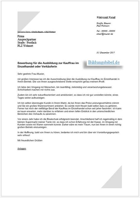 Anschreiben Ausbildung Systemgastronomie Bewerbung Kauffrau Im Einzelhandel Verk 228 Uferin Ausbildung Bildungsbibel De