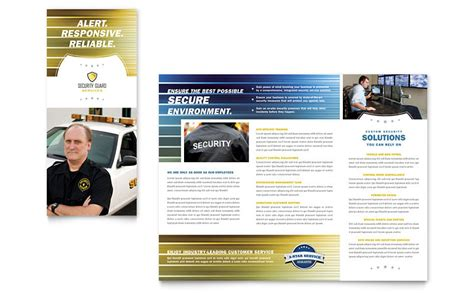 security company template security guard tri fold brochure template word publisher